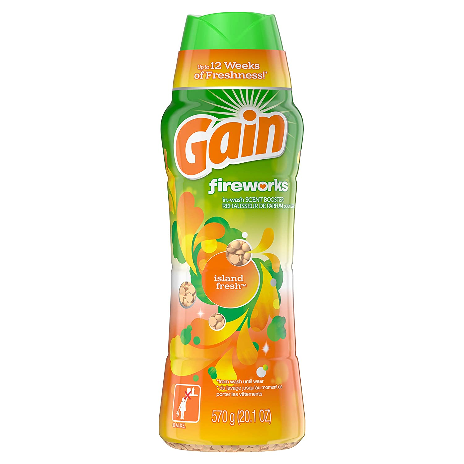 GAIN Gain Fireworks in-Wash Scent Booster Beads, Island Fresh, 20.1 Ounce