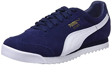 3143893d6 Puma Roma Suede Trainers, Peacoat White Team Gold-Amazon Green, 3.5 UK