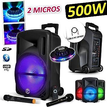 MyDJ DJOON10 - Juego de karaoke/DJ con altavoz portátil (500 W, LED RVA, 2 micrófonos, cable para ordenador, luz tipo ovni, batería): Amazon.es: ...