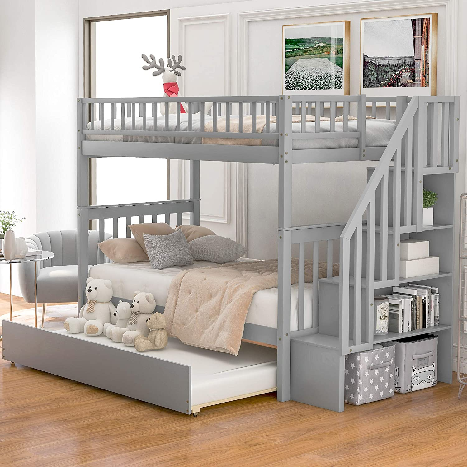 Twin Over Twin Bunk Bed With Trundle And Staircase Baysitone Wood Bunk Bed Frame With 4 Storages And Guardrails Can Be Separated Into 3 Beds No Box Spring Needed Grey Kitchen