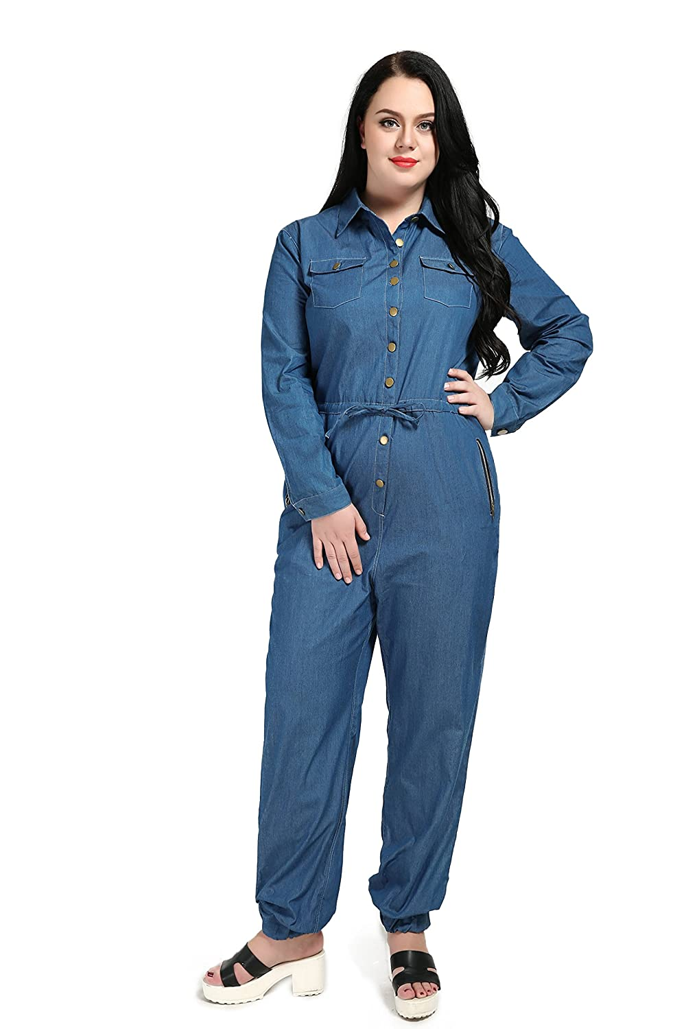 a787767dce22 Really love womens sexy long sleeve plus size denim jumpsuits rompers  clothing jpg 1000x1500 Plus size