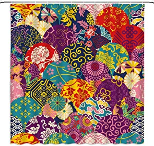 Bohemia Shower Curtain, Colorful Vintage Boho Mandala Indian Ethnic Trible Floral Pattern Fabric Bathroom Decor Sets with 12 Hooks,71X71 Inchs,Blue Red