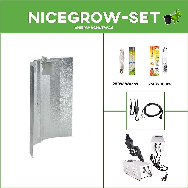 Growsset Beleuchtung VSG Set Vorschaltgerät 250W NDL 250W Wuchs Blüte Hammerschlag Nice Grow