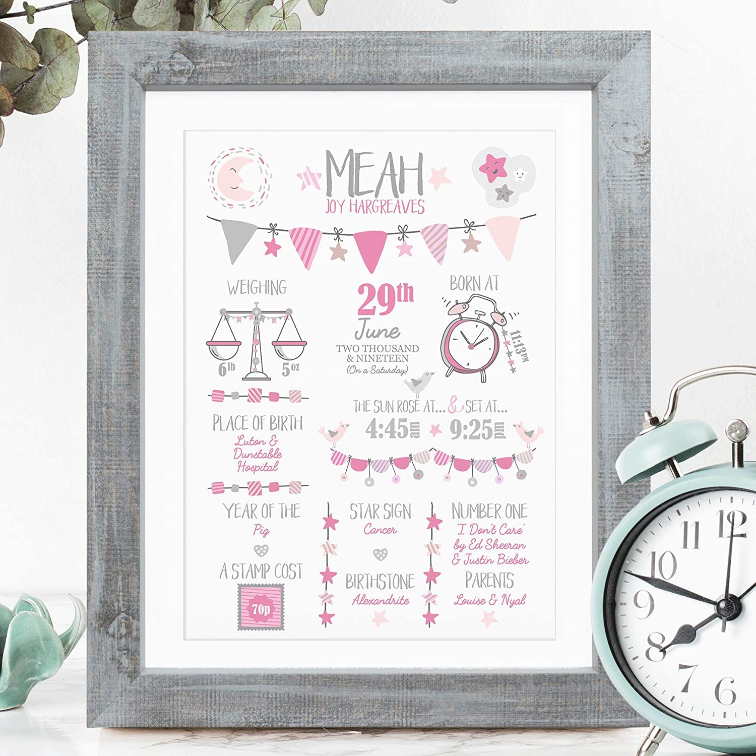 Birth Details Stats Picture Rose Pink, Framed New Baby Gift Personalised Birth Print for Baby Girl The Whistling Wren with Mount - Black Frame Bespoke Christening or Baptism Present