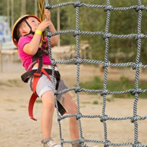 Playground Net Climbing Cargo Net 3.3' x 6.6' SEAAN Rope Ladder Swing for Outdoor Indoor Wall Balcony Banister Protection Fence Decor Mesh (Nylon, Gray, 6.6' X 6.6')