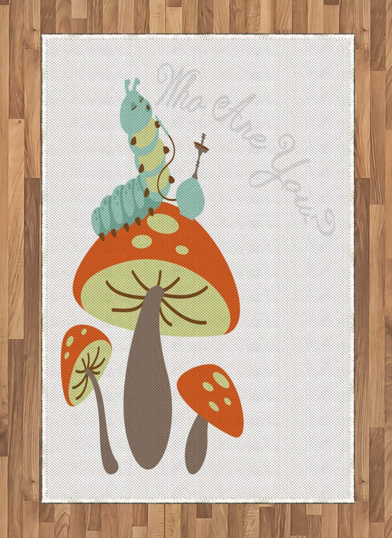 ABAKUHAUS Fantasía Alfombra de Área, Cachimba Oruga, Tejida Acento Decorativo para Sala de Estar o Dormitorio, 120 x 180 cm, Multicolor