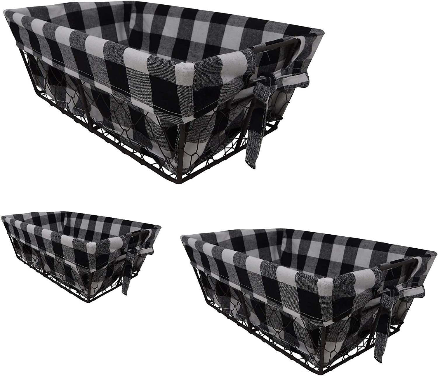 THE NIFTY NOOK I Set of 3 I Farmhouse I Buffalo Plaid I Wire Basket Liner Set I Home and Kitchen Storage (Checkered)