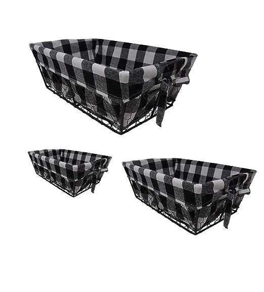 The Nifty Nook I Set of 3 I Farmhouse I Buffalo Plaid I Wire Basket Liner Set I Home and Kitchen Storage (Checkered)