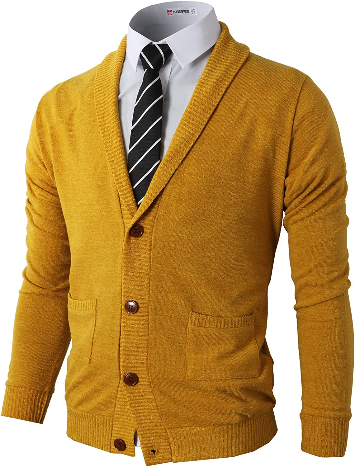 60s 70s Men's Jackets & Sweaters H2H Mens Casual Comfortable Fit Cardigan Sweater Shawl Collar Soft Fabric with Ribbing Edge $39.40 AT vintagedancer.com