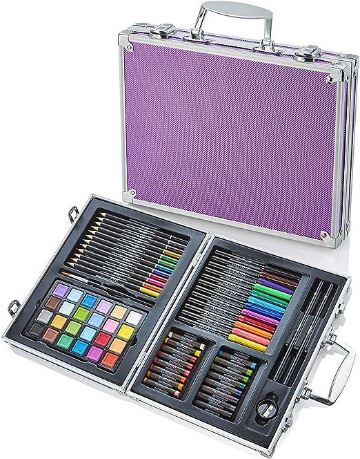 Artworx - Estudio de arte de 70 piezas con estuche de aluminio púrpura - Kit de coloración para niños - lápices de colores, pinturas, rotuladores para niños: Amazon.es: Hogar