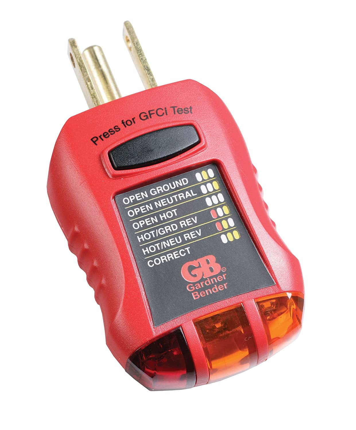 Gardner Bender GFI-3501 Ground Fault Receptacle Tester & Circuit Analyzer,  110-125V AC, for GFCI / Standard / Extension Cords & More, 7 Visual LED  Tests ...