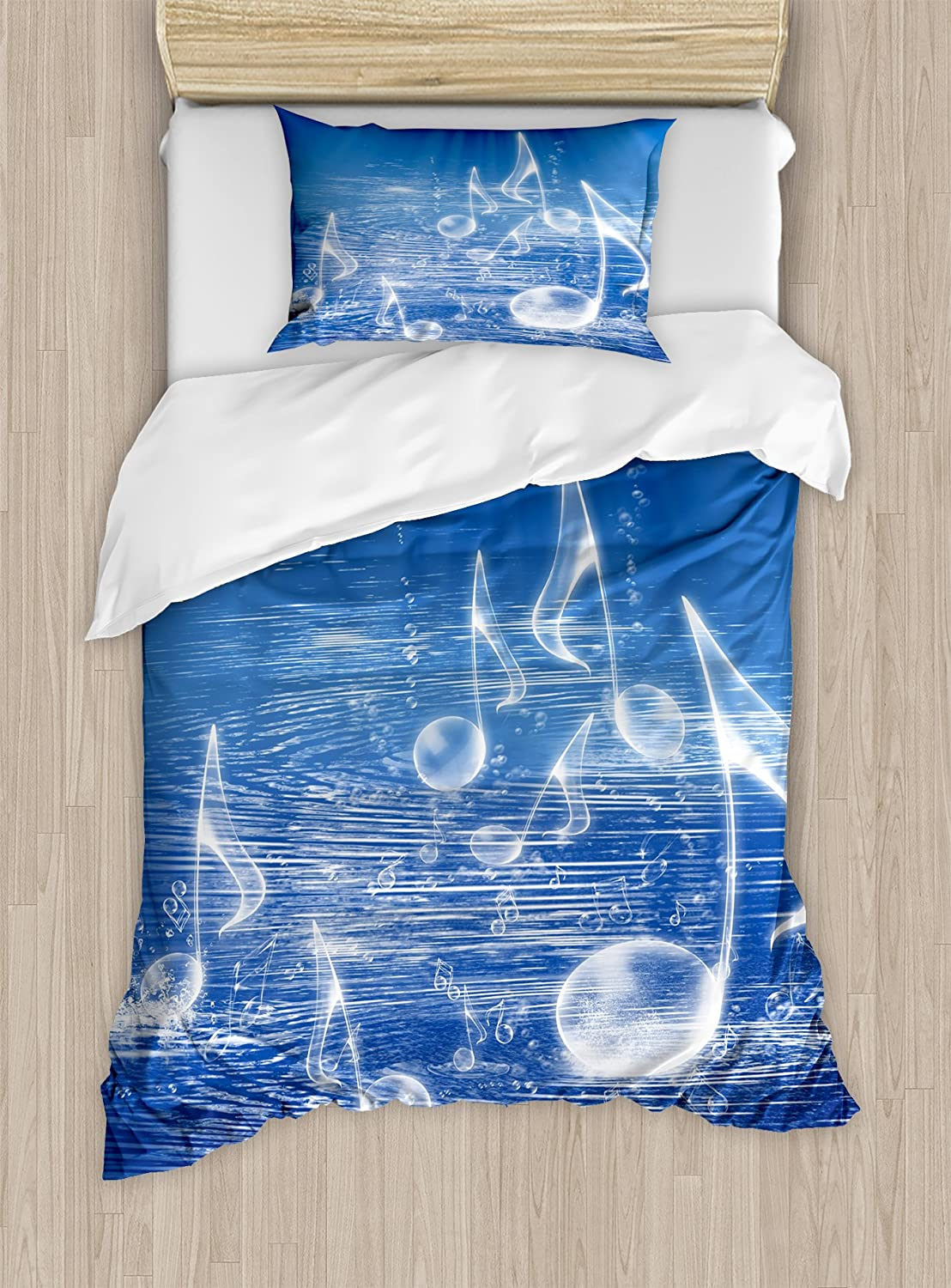 Ambesonne Music Duvet Cover Set, Water with Musical Notes Bubbles Dancing Waves Fantasy Music More Than Real Theme, Decorative 2 Piece Bedding Set with 1 Pillow Sham, Twin Size, Blue White