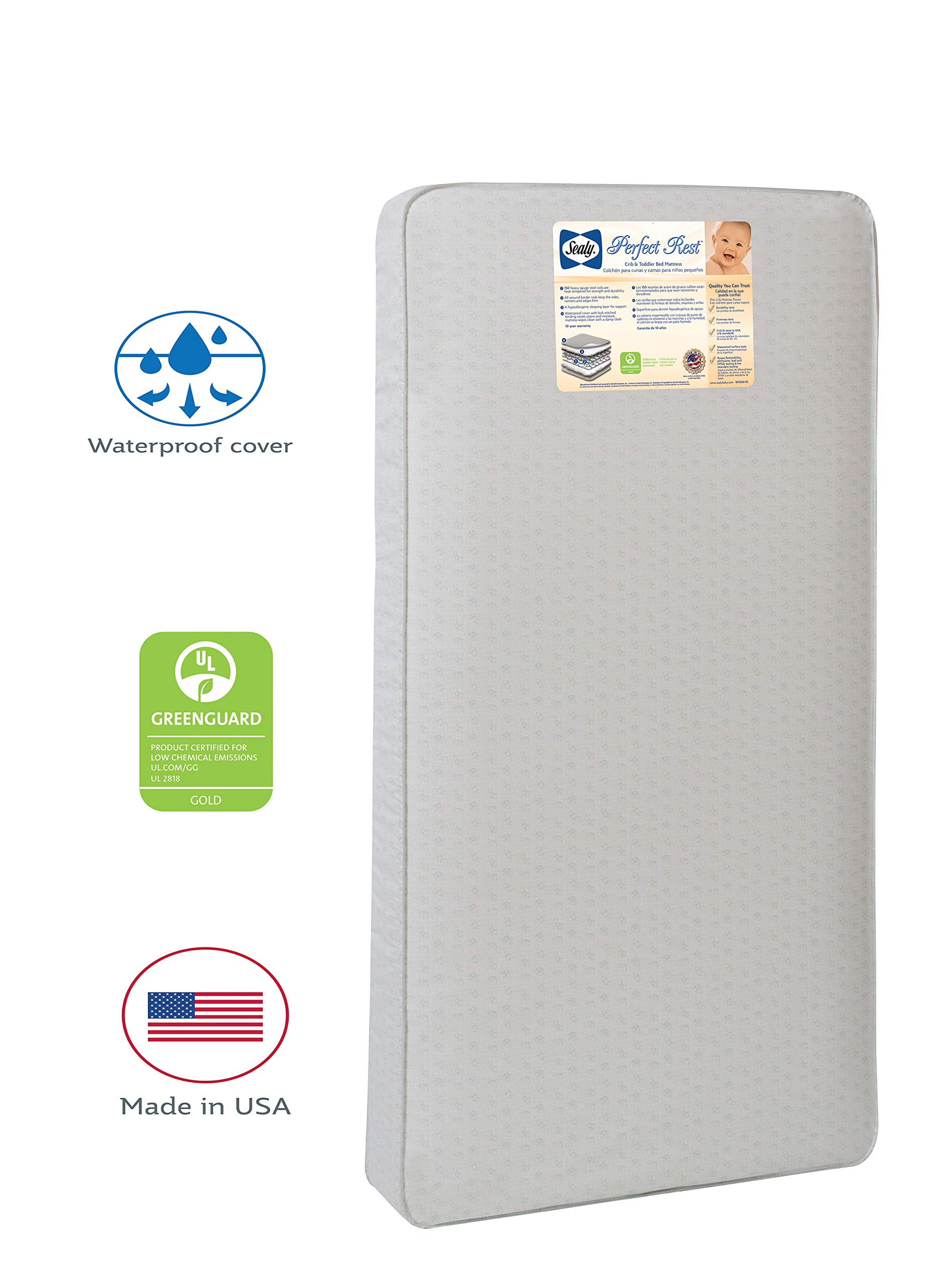 Sealy Baby Perfect Rest Waterproof Standard Toddler & Baby Crib Mattress - 150 Extra Firm Coils, 51.7'' x 27.3'' by Sealy