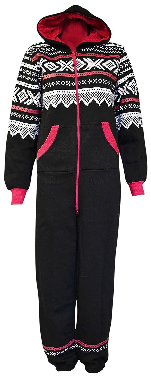 New Womens Fleece Aztec Print Zip Exposed Fastening Jumpsuit