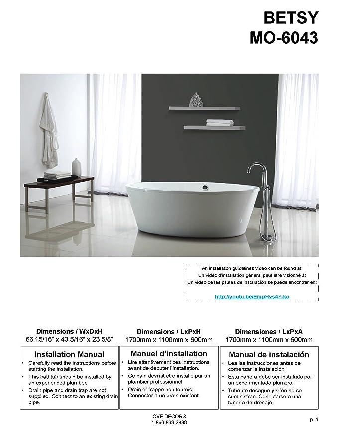Ove Decors Marilyn Freestanding Soaking Bathtub, 67-Inch by 43-Inch ...