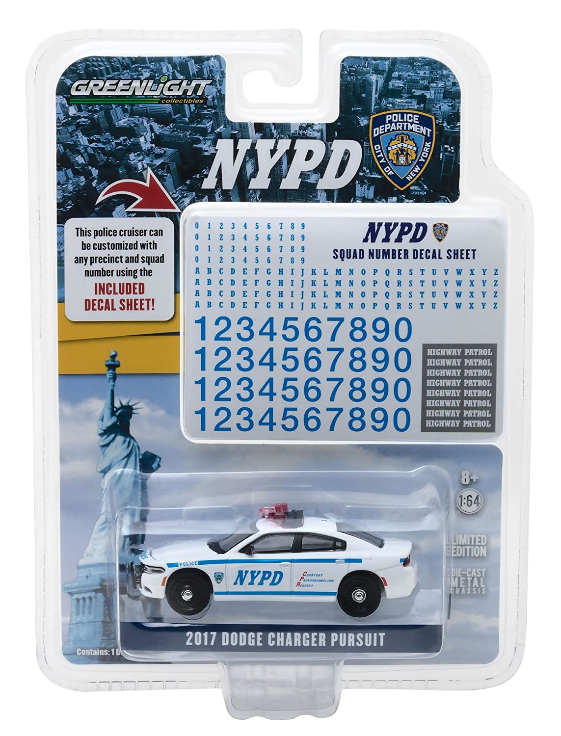 Greenlight 42821 2017 Dodge Charger Pursuit Police New York Police  Department (NYPD) with NYPD Squad Number Decal Sheet Hobby Exclusive 1/64  Diecast