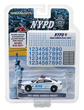 2017 Dodge Charger Pursuit Police NYPD with Squad Number Decal Sheet Hobby Exclusive 1/64 Diecast Model Car Greenlight