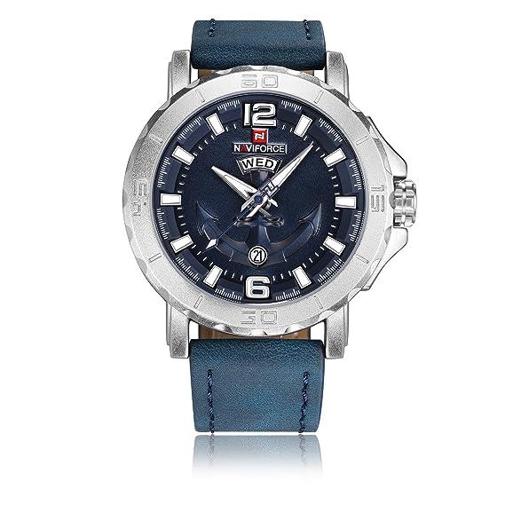 Naviforce reloj de los hombres del deporte clásico Militar reloj de pulsera de cuarzo analógico,