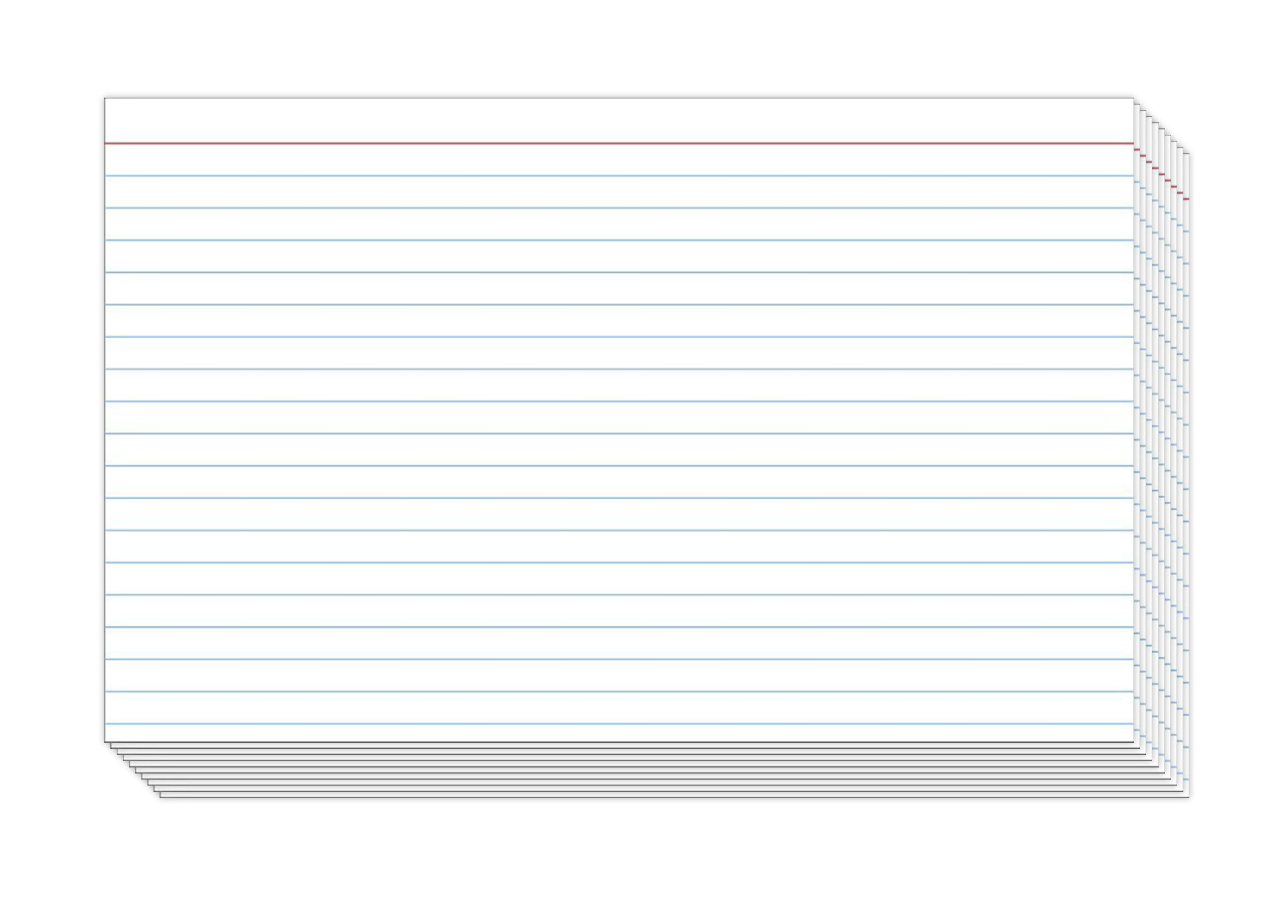 Ruled Index Cards, On 100lb. Heavyweight Thick White Cover Stock.''100 per pack'' (4 x 6) by S Superfine Printing