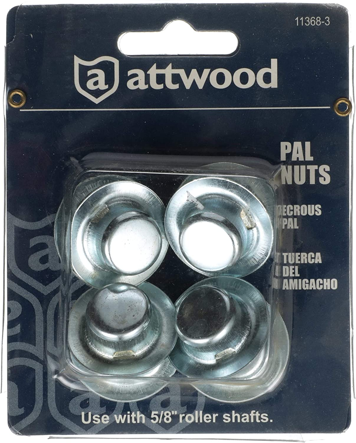 Diameter Roller Shafts attwood 11368-3 Pal Nuts /— Zinc-Plated Steel /— for 5//8-In Set of 8 Nuts