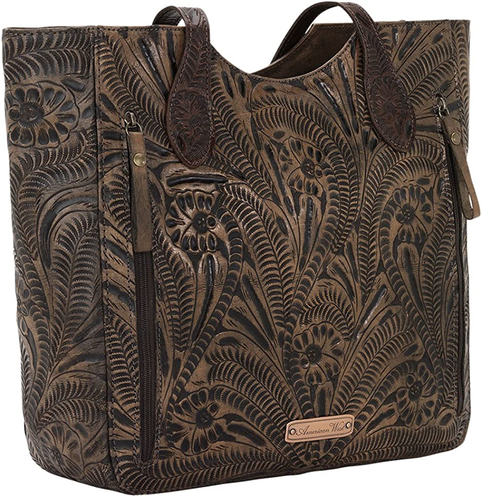 American West Blue Ridge Zip Top Tote w//Secret Compartment