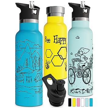 Amazon.com: Botella de agua con doble aislamiento con tapa ...