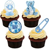 Baby Shower Boy, Blue Edible Cupcake Toppers - Stand-up Wafer Cake Decorations (Pack of 24)