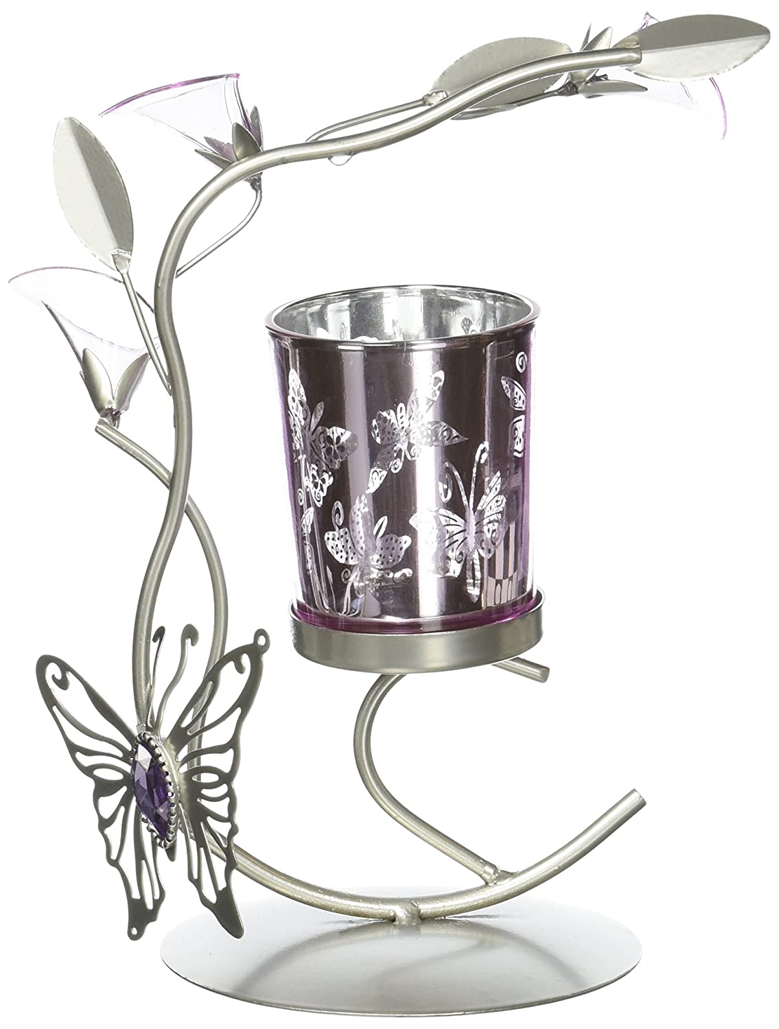 Silver & Purple Butterfly Lilly Candle Holder Metal Sculpture Home Wedding or Party Decor Tom & Co. SLC-10016360