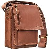 STILORD 'Finn' Mensajero de piel para Hombres / Bolso bandolera / Messenger Bag / Bolso de piel mujeres hombres vintage Tablets hasta 8.4 pulgadas, Color:cognac - marrón claro