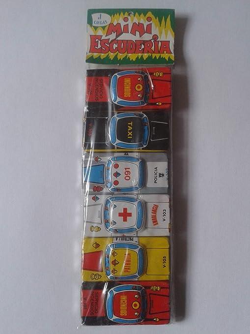J. CUBAS Antiguo Blister Paquete DE 6 Coches HOJALATA Cars Toys Mini ESCUDERÍA Vintage,