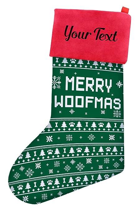 Christmas Stockings For Dogs.Christmas Stockings Dogs Merry Woofmas Dog Ugly Christmas Sweater Themed Pattern Christmas Stockings Dog Lovers Personalized Christmas Stockings