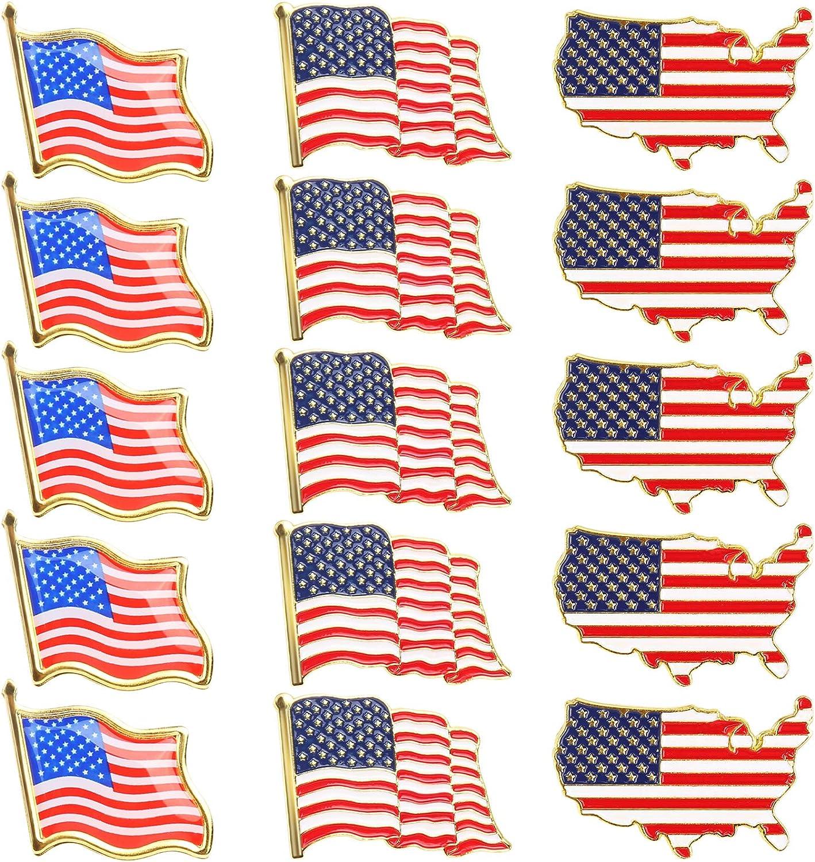 15 Pack 3 Styles American Flag Lapel Pins, LEOBRO USA Flag Pins, Enamel Flag Lapel Pins, Flag Brooch Badges, Flag Metal Badges for Patriotic Display Backpack Hat Tie Cloth