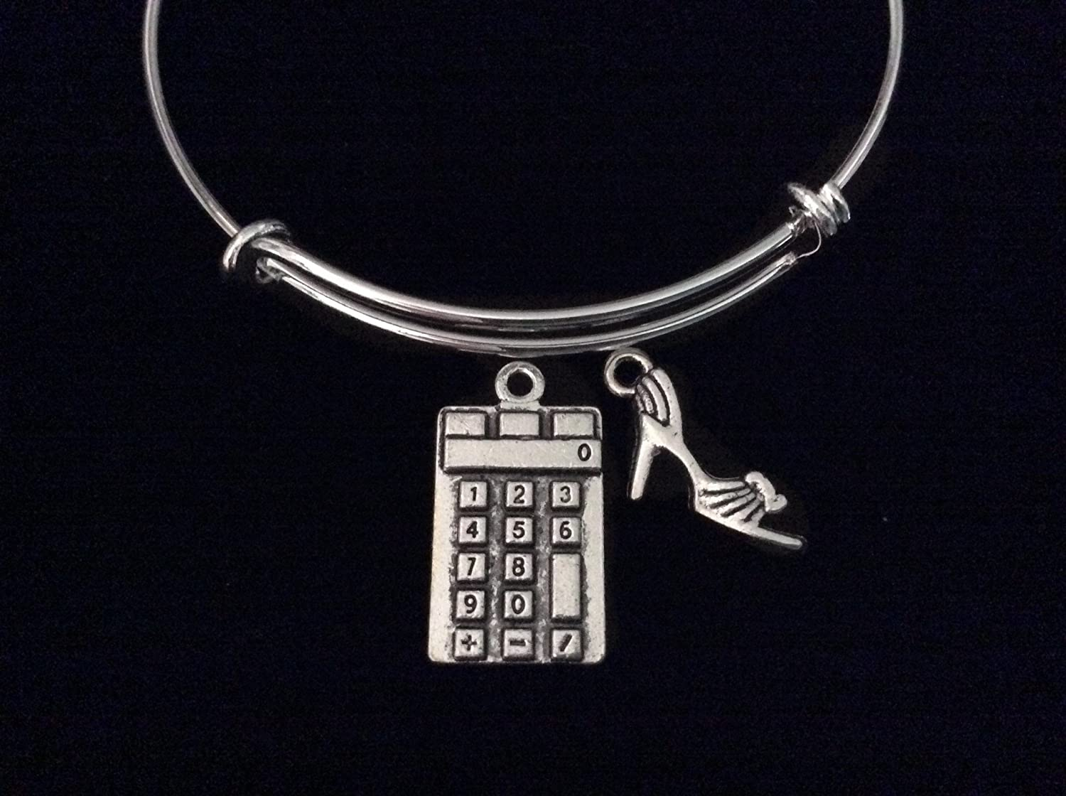 Calculator and High Heel Shoe Expandable Charm Bracelet Silver Wire Adjustable Bangle Stacking Math Tutor Mather Teacher Gift
