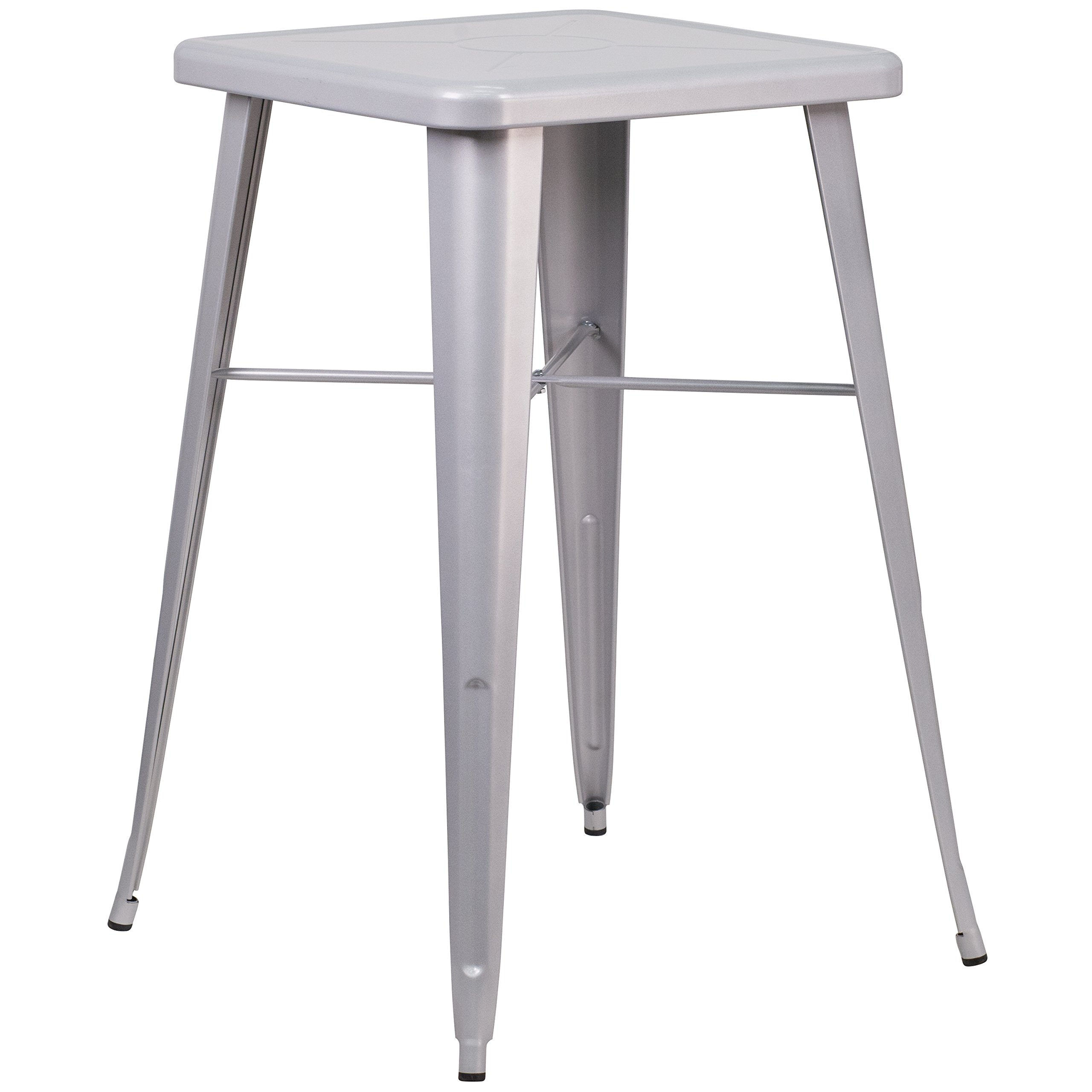 Flash Furniture 23.75'' Square Silver Metal Indoor-Outdoor Bar Height Table by Flash Furniture