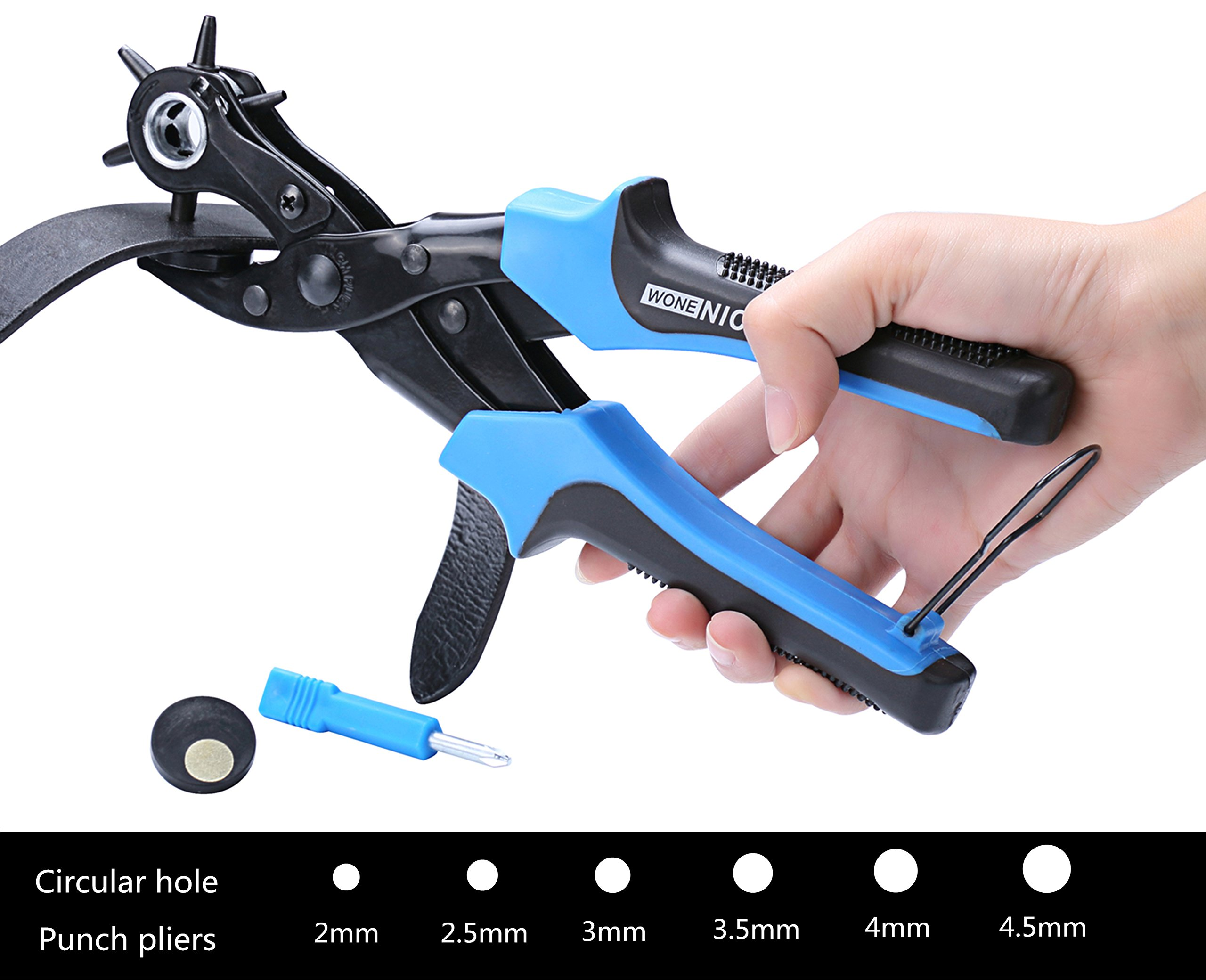 WoneNice Revolving Leather Hole Punches -2 Years Warranty -Professional Heavy Duty Belt Hole Puncher Tool - Easily Punches Perfect Round Holes in 2.0 mm- 4.5 mm