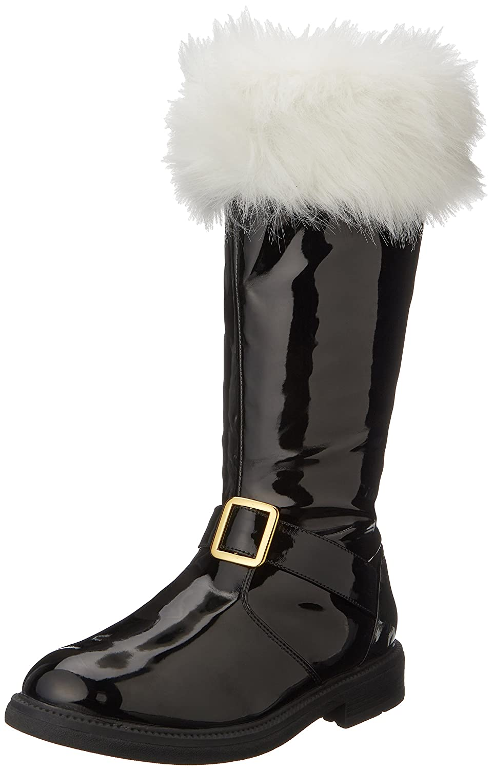 Men's Santa Black Patent Leather Snow Boots