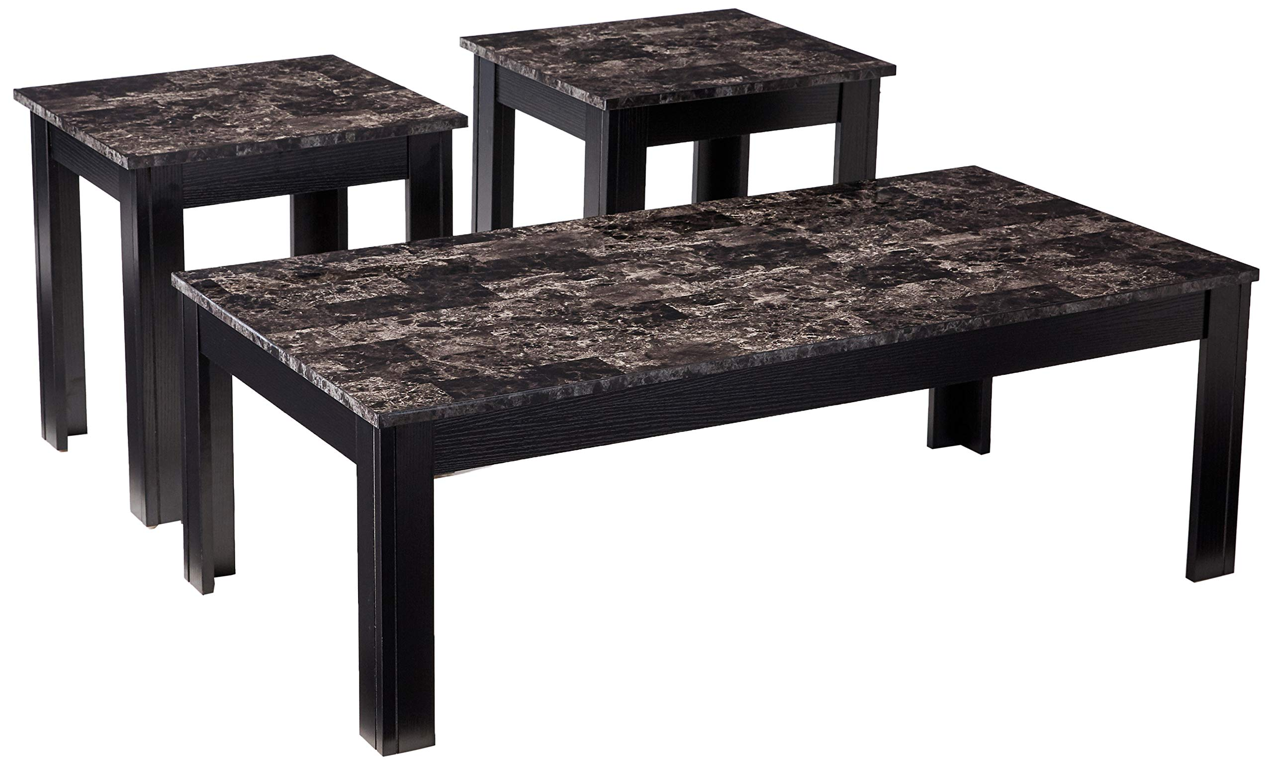 Coaster Home Furnishings 700375 3-Piece Occasional Table Set with Marble-Looking Top, Black by Coaster Home Furnishings