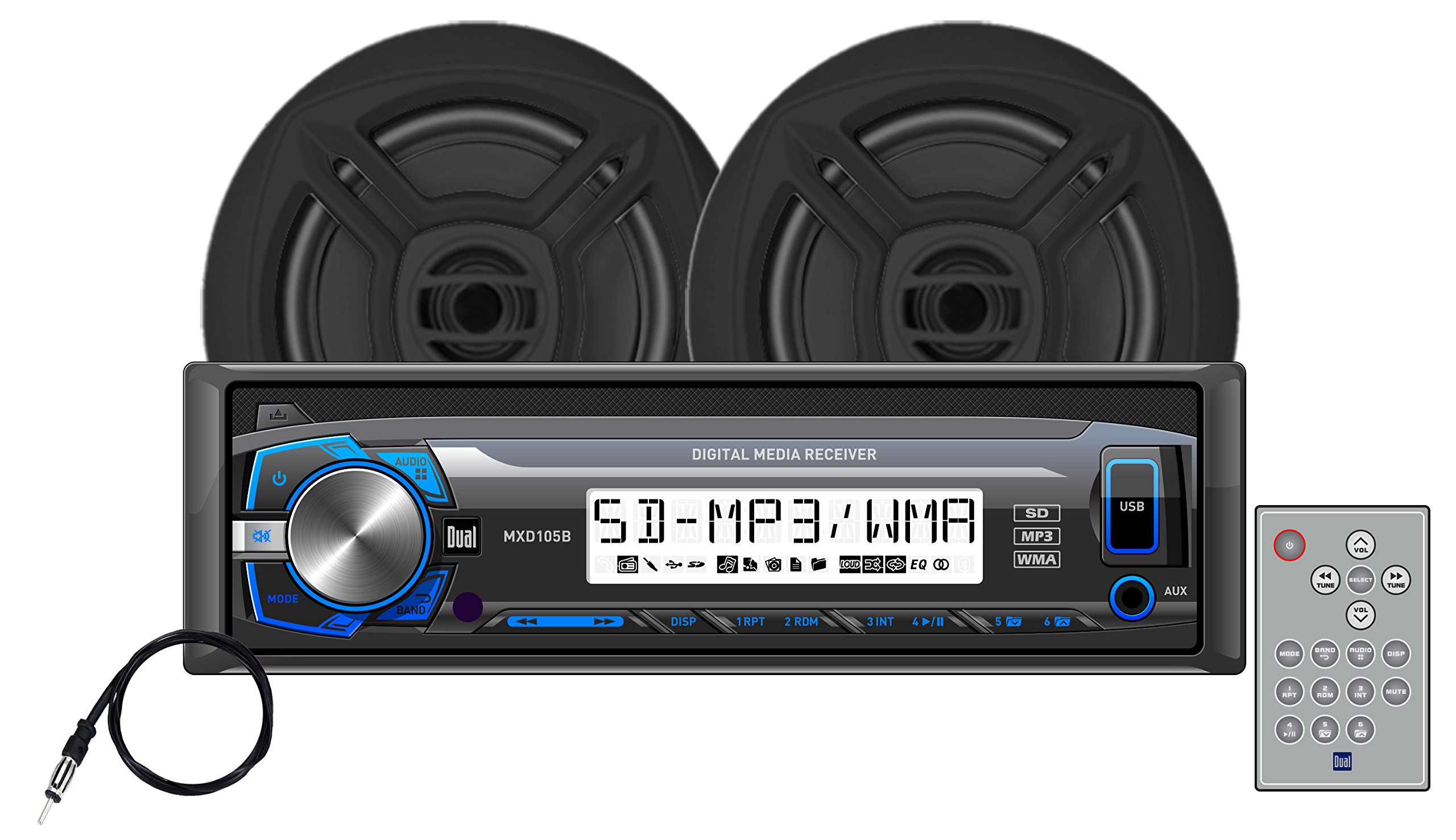 Dual Electronics MCP103B Multimedia Detachable Single DIN Marine Stereo with Built-In Bluetooth, USB & SD Card Ports, Two 6.5 inch Dual Cone Marine Speakers & Marine Antenna