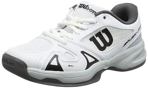 detailed look bb087 3a96a Wilson Unisex Kids Rush Pro Jr 2.5 Carpet Tennis Shoes, White (White Pearl