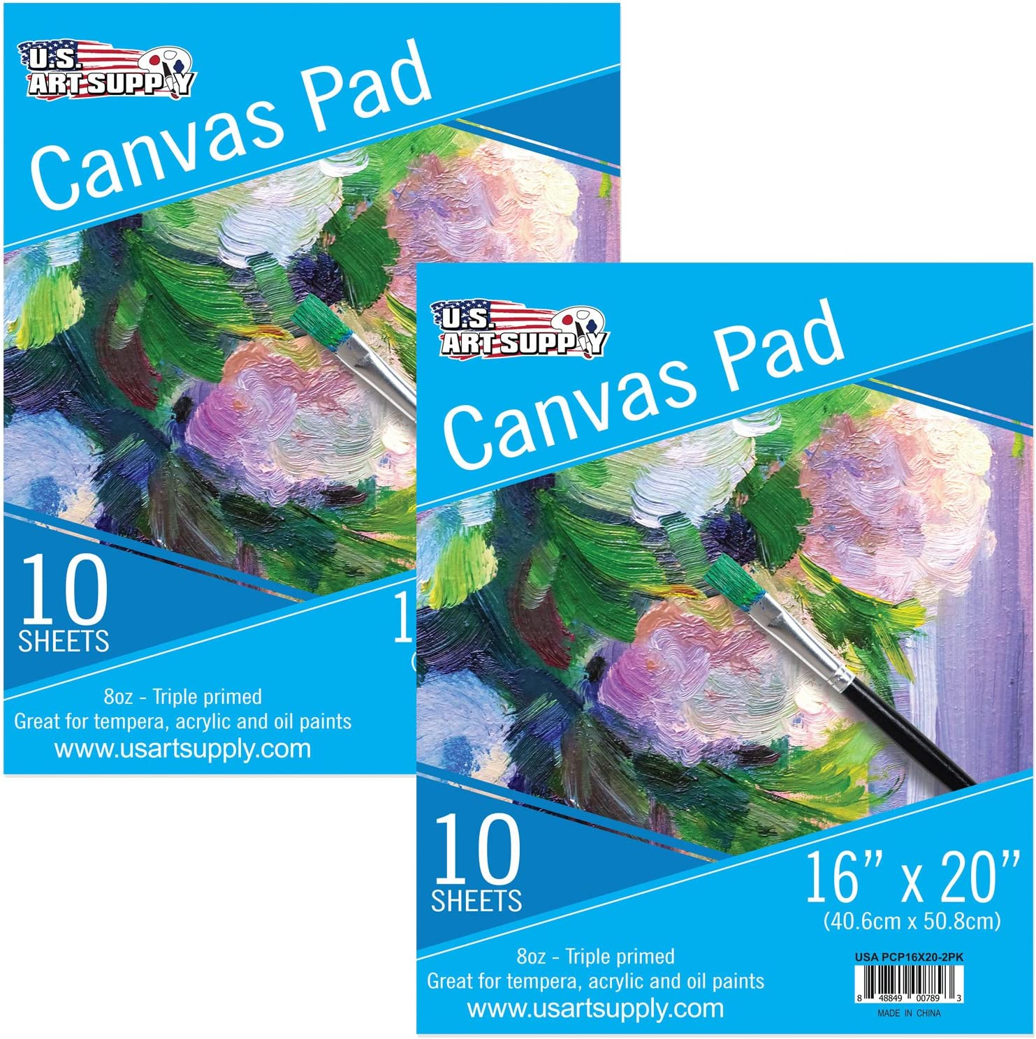 """U.S. Art Supply 16"""" x 20"""" 10-Sheet 8-Ounce Triple Primed Acid-Free Canvas Paper Pad (Pack of 2 Pads)"""