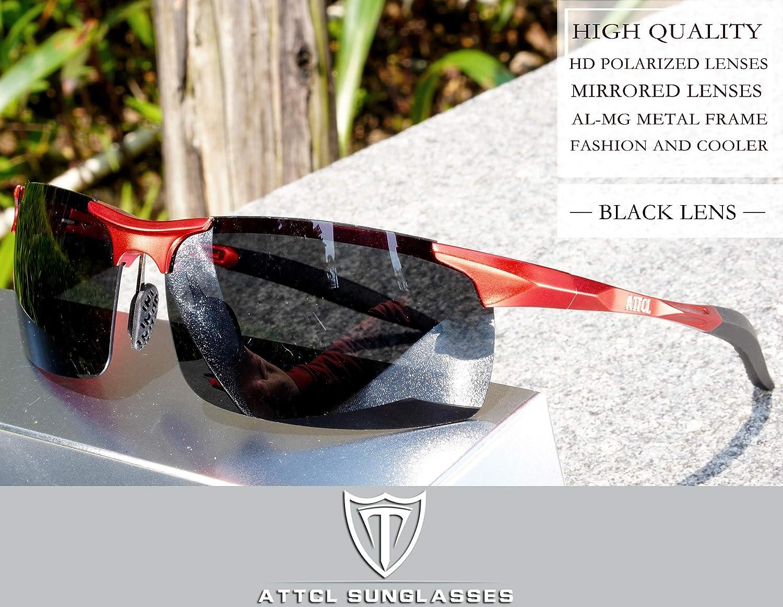 ATTCL Hombre Gafas De Sol Deportes Polarizado S/úper Ligero Al-Mg Marco De Metal