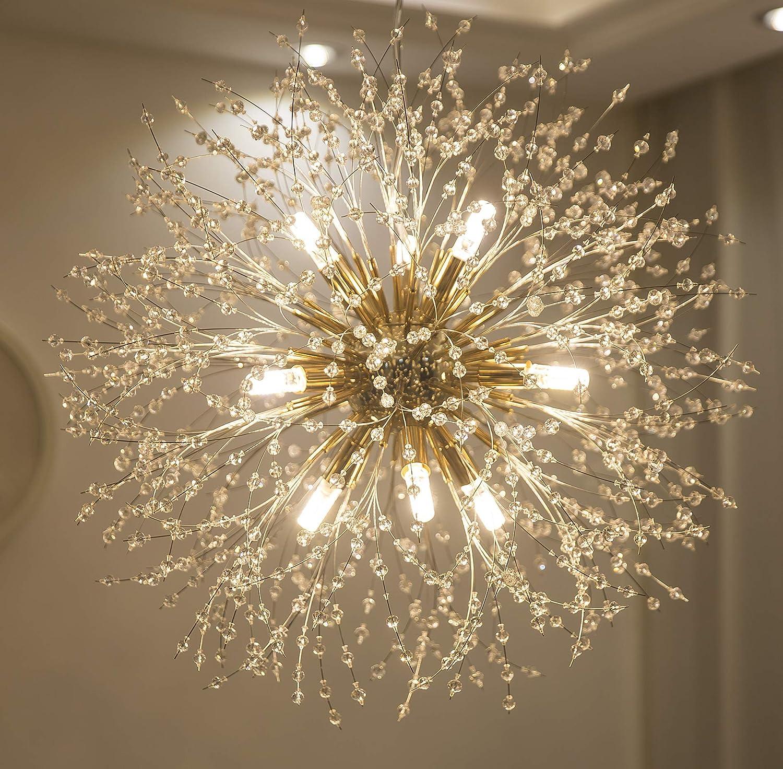 Garwarm Modern Firework Chandeliers,Crystal Chandelier Pendant  Lighting,Ceiling Lights Fixtures for Living Room Bedroom  Restaurant,5-Light,Gold