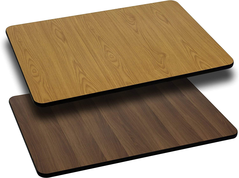 Flash Furniture 2 Pk. 30'' x 42'' Rectangular Table Top with Natural or Walnut Reversible Laminate Top