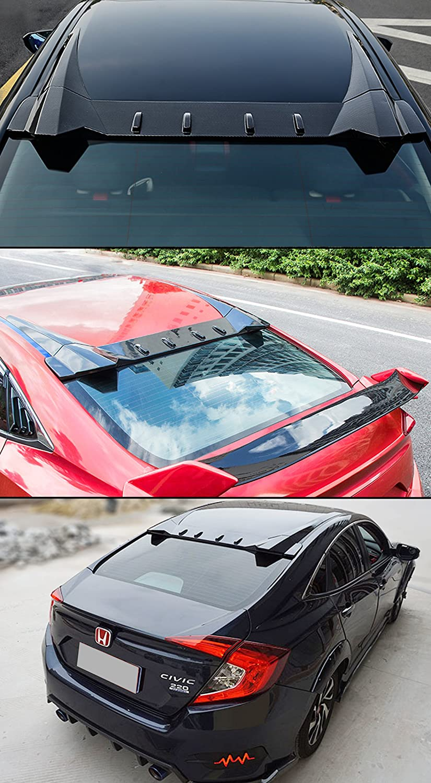 Cuztom Tuning FITS 2016-18 Honda Civic 4 Door Sedan FK8 Type-R Style 3PC Design Rear ROOF Vortex FIN Spoiler
