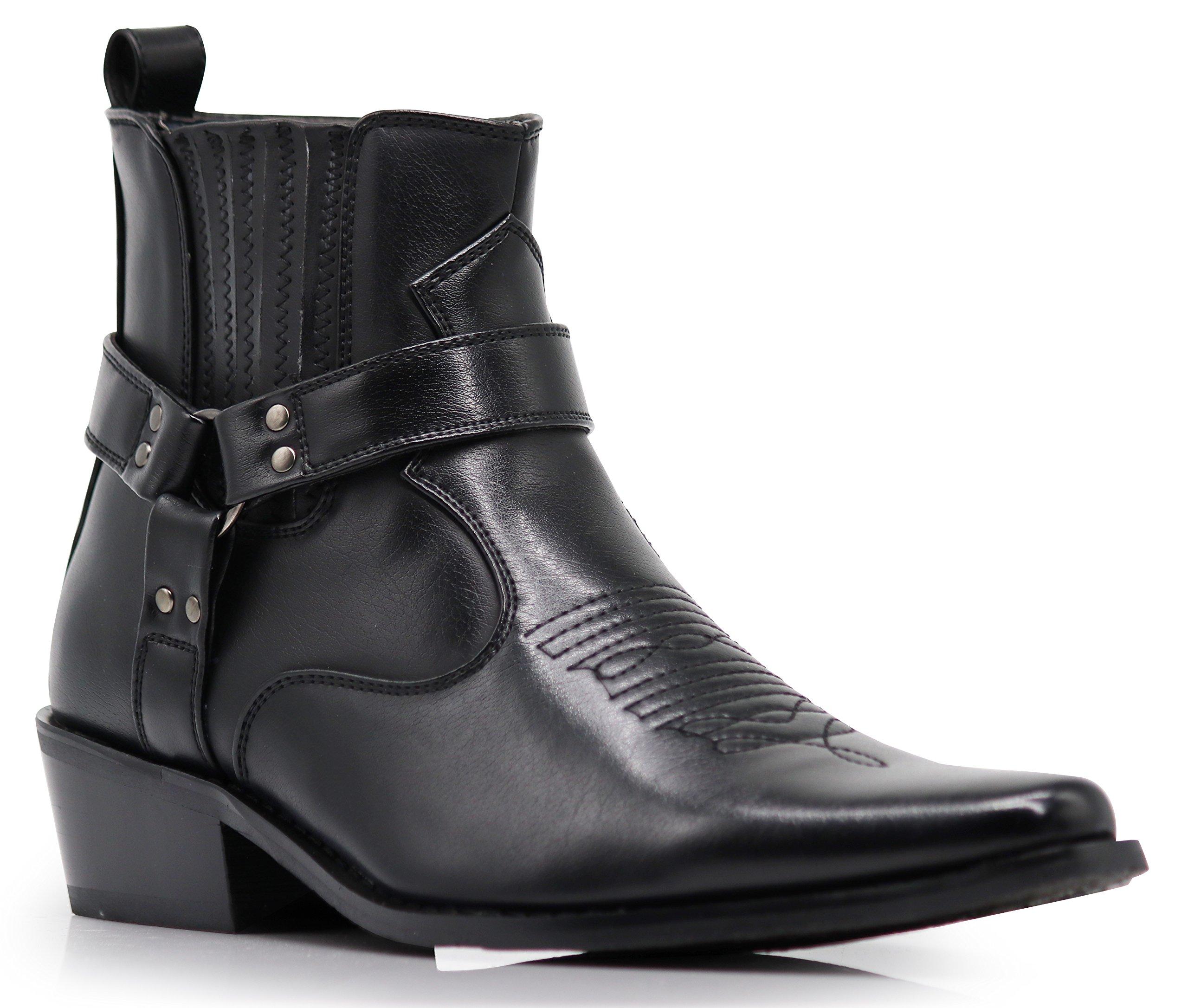 Alberto Fellini Men's Western Boots (West01) (Black, 10) by Alberto Fellini