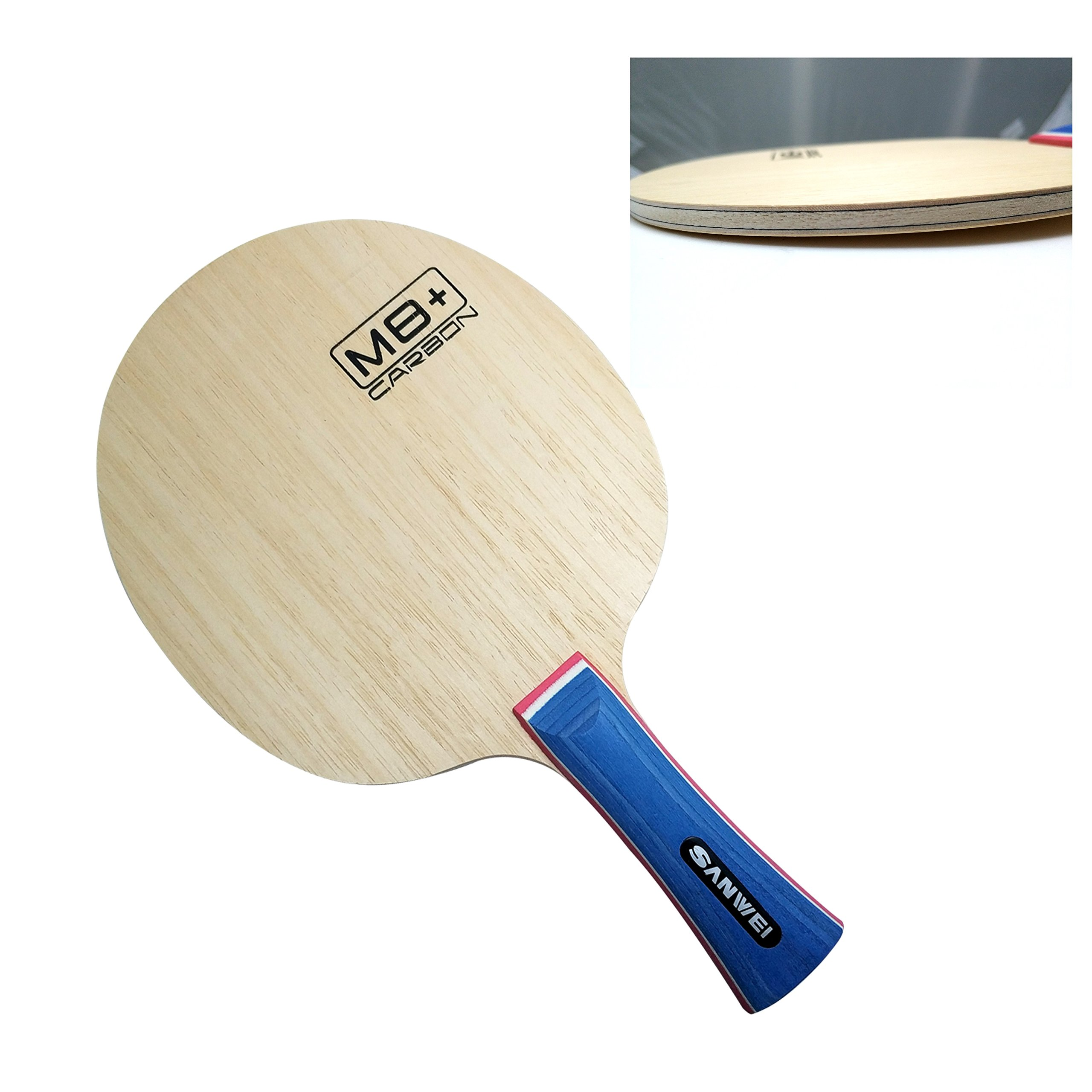 Sanwei M8 Plus Carbon Table Tennis Blade, FL Handle