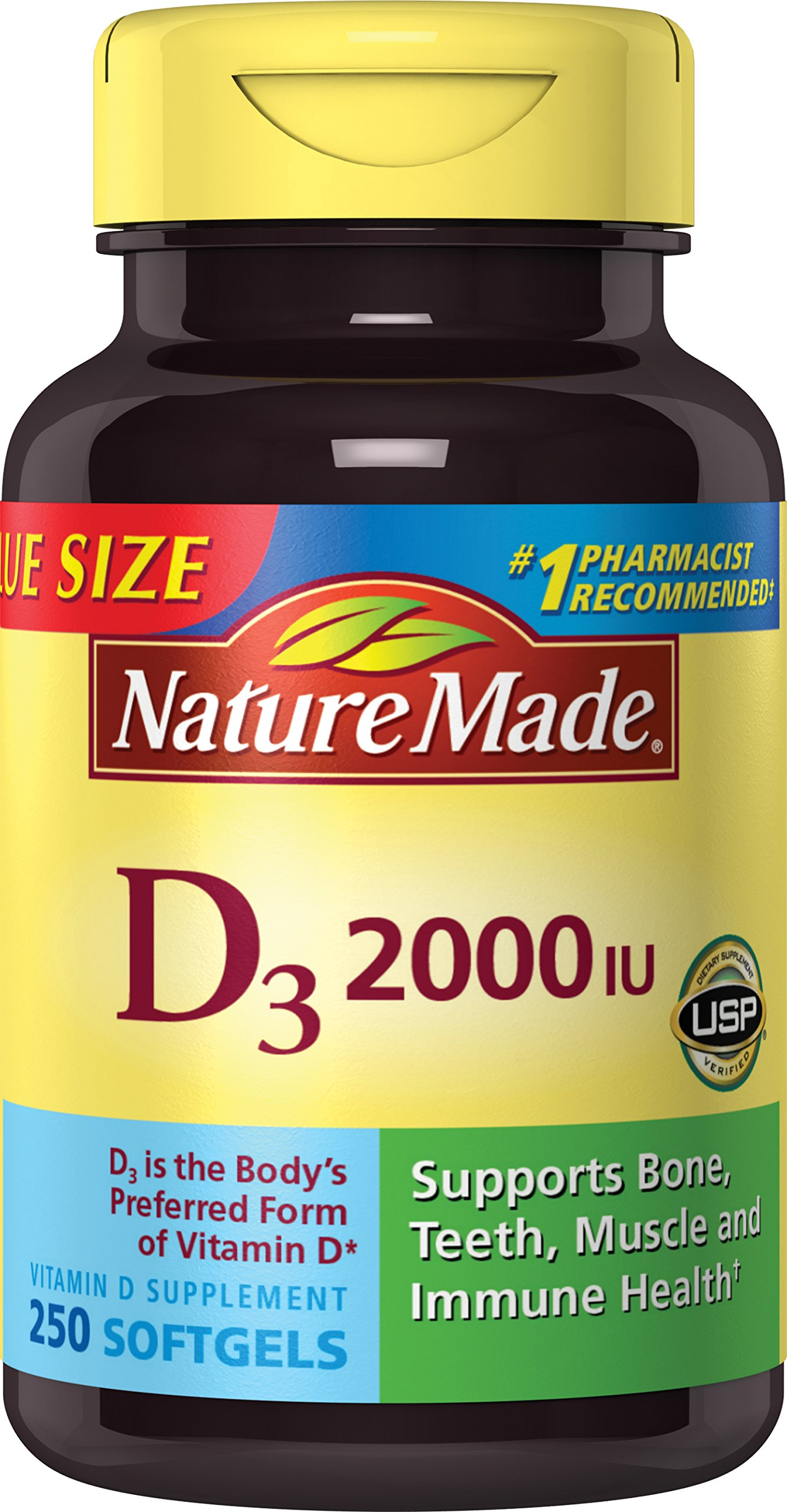 Nature Made Vitamin D3 2000 IU Softgels Value Size 250 Ct