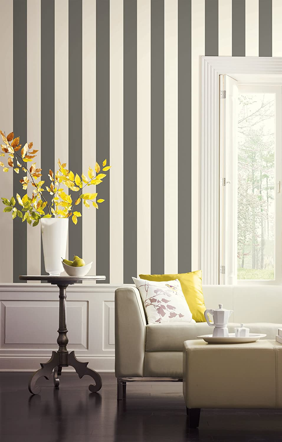 York Wallcoverings SA9175 Ashford Stripes 3 Inch Stripe Wallpaper,  Gray/White     Amazon.com Part 73