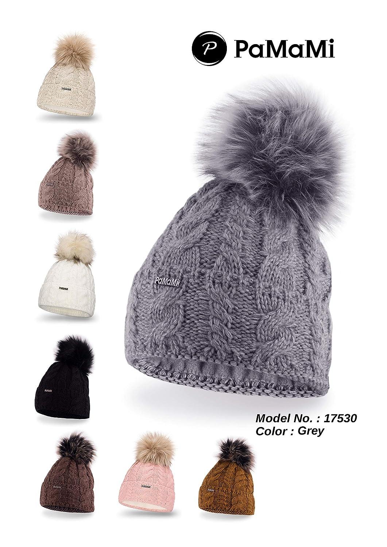 PaMaMi Ladies Thermal Winter Hat Warm Beanie Universal Size Skin-Friendly d1513e49f94