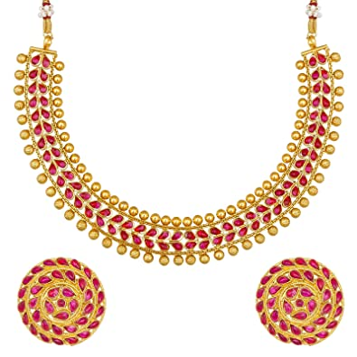 Buy The Luxor Fashion Jewellery Traditional Designer Gold Plated Bridal Choker Necklace Jewellery Set Women Girls Online At Low Prices In India Amazon Jewellery Store Amazon In